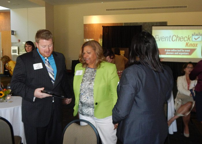 John McCulley of Moxley Carmichael demonstrates the site for Phyllis Nichols, CEO of the Knoxville Area Urban League.