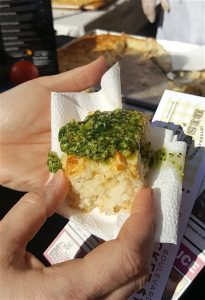 Parmesan garlic biscuits with pesto from Chef Bruce Bogartz of Primo. (Blue Streak photo)